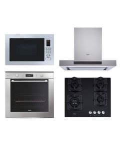 Whirlpool Chimney + Hob + Oven + Microwave Combo STAINLESS STEEL + BLACK Finish WHCHOM-06