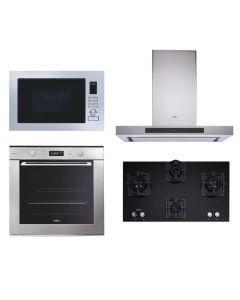 Whirlpool Chimney + Hob + Oven + Microwave Combo STAINLESS STEEL + BLACK Finish WHCHOM-07