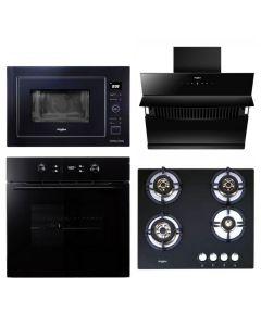 Whirlpool Chimney + Hob + Oven + Microwave Combo BLACK Finish WHCHOM-01