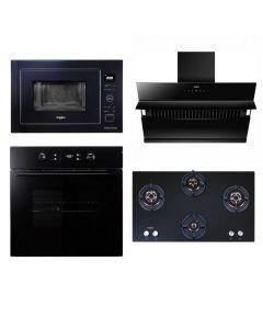 Whirlpool Chimney + Hob + Oven + Microwave Combo BLACK Finish WHCHOM-03
