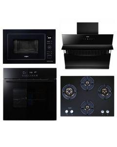 Whirlpool Chimney + Hob + Oven + Microwave Combo BLACK Finish WHCHOM-02