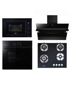 Whirlpool Chimney + Hob + Oven + Microwave Combo BLACK Finish WHCHOM-05