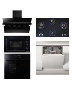 Whirlpool Chimney + Hob + Oven + Microwave + Dishwasher Combo STAINLESS STEEL + BLACK Finish WHCHOMD-01