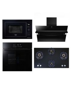 Whirlpool Chimney + Hob + Oven + Microwave Combo BLACK Finish WHCHOM-04