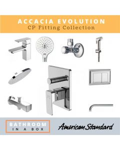 American Standard CP Fittings Bundle Accacia Evolution Series Chrome Finish with 8 Inches Rain Shower AS 005