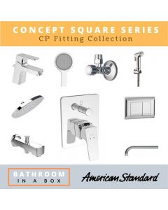 American Standard CP Fittings Bundle Concept Square Series Chrome Finish with 8 Inches Rain Shower AS 002