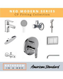 American Standard CP Fittings Bundle Neo Modern Series Chrome Finish with 8 Inches Rain Shower AS 001
