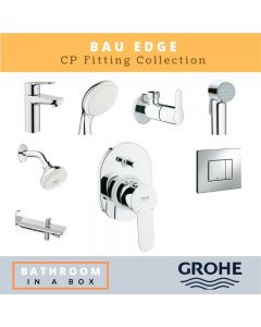 Grohe CP Fittings Bundle Bauedge Series Chrome Finish with 4 Inches Regular Shower GRO 005