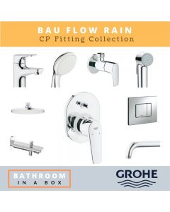 Grohe CP Fittings Bundle Bauflow Series Chrome Finish with 8 Inches Rain Shower GRO 002