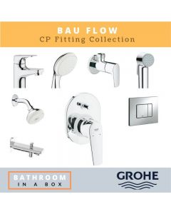 Grohe CP Fittings Bundle Bauflow Series Chrome Finish with 4 Inches Regular Shower GRO 001