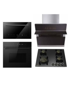 Hafele Chimney + Hob + Oven + Microwave Combo BLACK Finish HACHOM-31