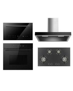 Hafele Chimney + Hob + Oven + Microwave Combo BLACK Finish HACHOM-26