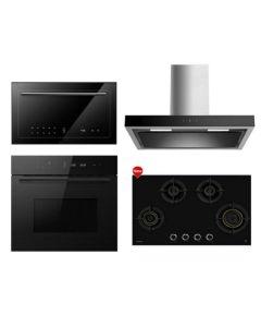 Hafele Chimney + Hob + Oven + Microwave Combo BLACK Finish HACHOM-29