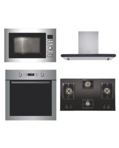Elica Chimney + Hob + Oven + Microwave Combo STAINLESS STEEL + BLACK Finish ELCHOM-09