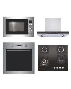 Elica Chimney + Hob + Oven + Microwave Combo STAINLESS STEEL + BLACK Finish ELCHOM-10