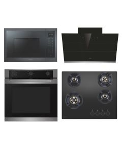 Elica Chimney + Hob + Oven + Microwave Combo INOX + BLACK Finish ELCHOM-06