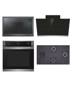 Elica Chimney + Hob + Oven + Microwave Combo INOX + BLACK Finish ELCHOM-05