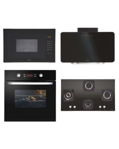 Elica Chimney + Hob + Oven + Microwave Combo BLACK Finish ELCHOM-11