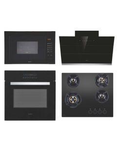 Elica Chimney + Hob + Oven + Microwave Combo BLACK Finish ELCHOM-03