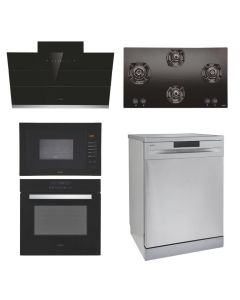 Elica Chimney + Hob + Oven + Microwave + Dishwasher Combo STAINLESS STEEL + BLACK Finish ELCHOMD-01