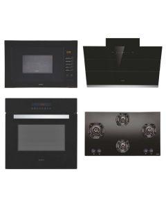 Elica Chimney + Hob + Oven + Microwave Combo BLACK Finish ELCHOM-12