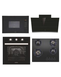 Elica Chimney + Hob + Oven + Microwave Combo BLACK Finish ELCHOM-04