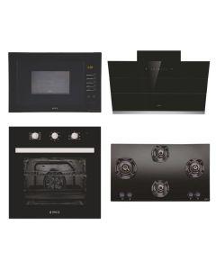 Elica Chimney + Hob + Oven + Microwave Combo BLACK Finish ELCHOM-07