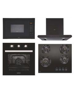 Elica Chimney + Hob + Oven + Microwave Combo BLACK Finish ELCHOM-08