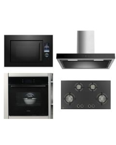 Hafele Chimney + Hob + Oven + Microwave Combo BLACK Finish HACHOM-24
