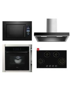 Hafele Chimney + Hob + Oven + Microwave Combo BLACK Finish HACHOM-27