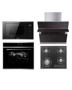 Hafele Chimney + Hob + Oven + Microwave Combo BLACK Finish HACHOM-30