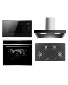 Hafele Chimney + Hob + Oven + Microwave Combo BLACK Finish HACHOM-25