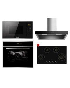 Hafele Chimney + Hob + Oven + Microwave Combo BLACK Finish HACHOM-28