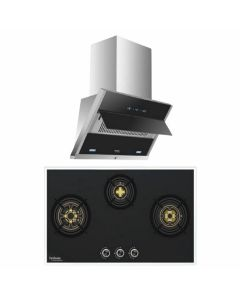 Hindware Chimney And Hob Combo STAINLESS STEEL + BLACK GLASS COMBO 37